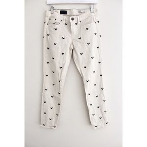 • J CREW CREAM BEADED ANKLE DENIM PANTS SZ 28 •